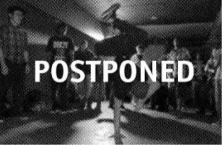 picture of students dancing with word postponed across the picture