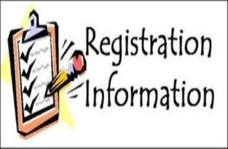 picture of clipboard and words that say registration information